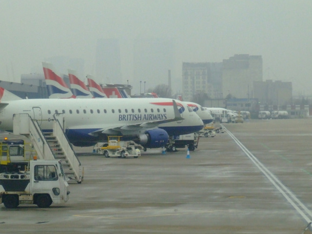 Fog at London City Airport