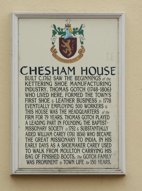 Chesham House plaque