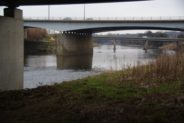 The M6 crosses the River Ribble