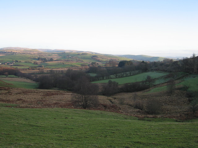Nant Cilmeddu and fields near Geufron