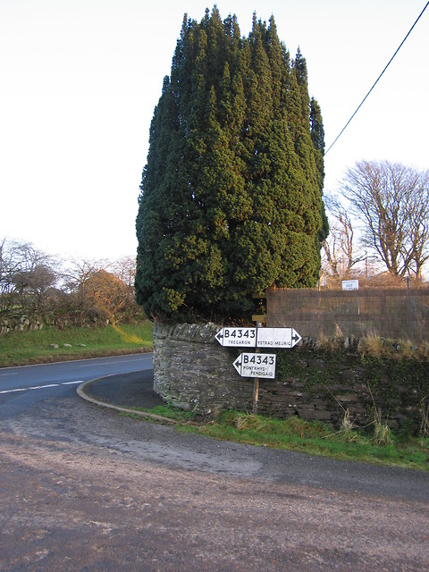 Road junction at Ysbyty Ystwyth