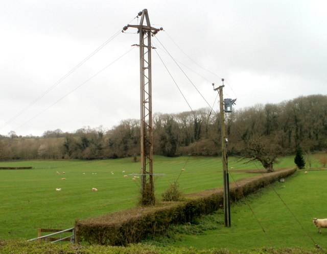 Two power poles on the south side of the A48 west of Caerwent