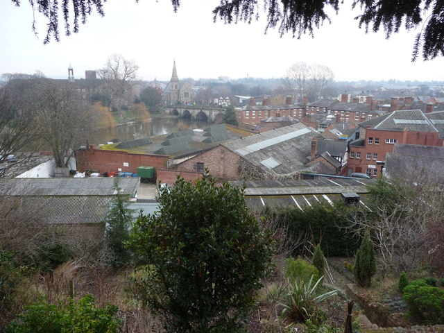 View over some of the roofs of Shrewsbury