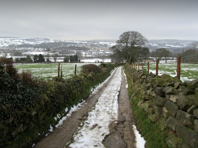 Bridleway descending towards Menston