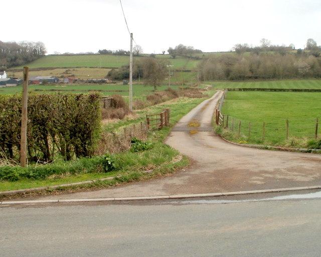Entrance road to Rodge Farm near Caerwent