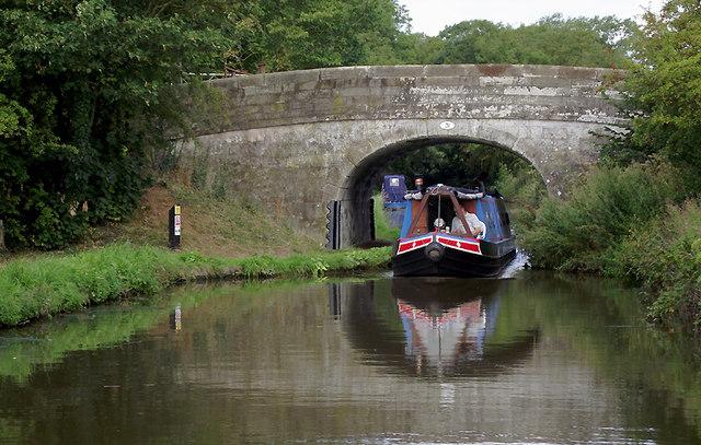 Narrowboat at Bridge No 31 south of Gnosall, Staffordshire