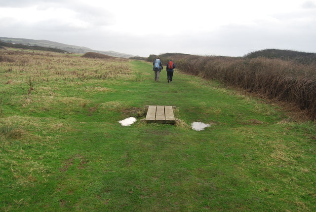 Small footbridge over small ditch, South West Coast Path