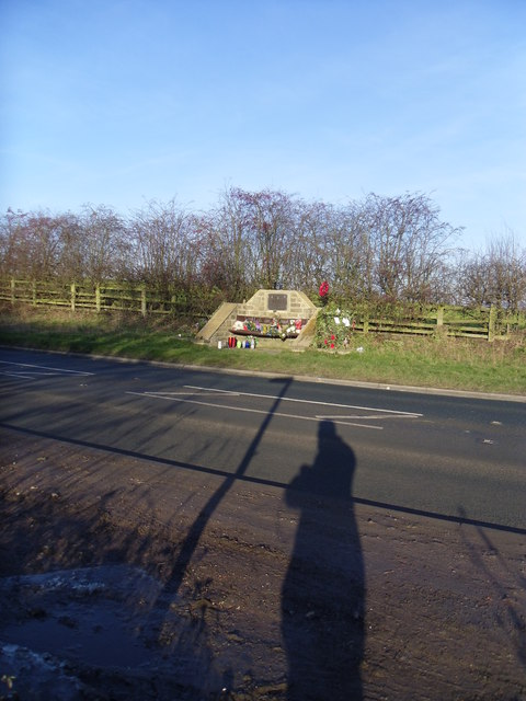 Roadside memorial on Wooley edge lane.