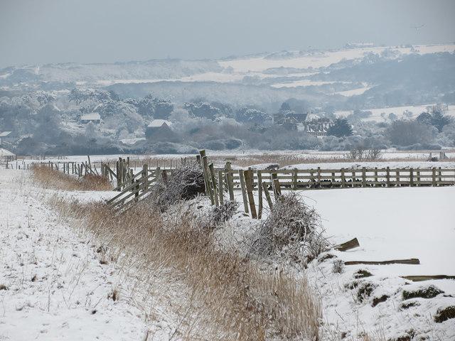 Snowy ditch along Pett Level Road