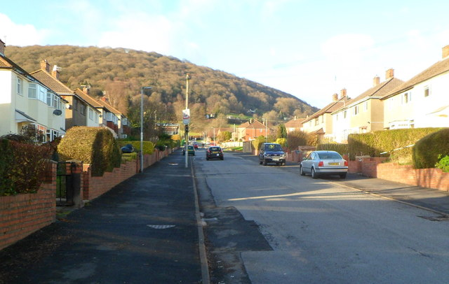 Looking up Llwynu Lane, Abergavenny