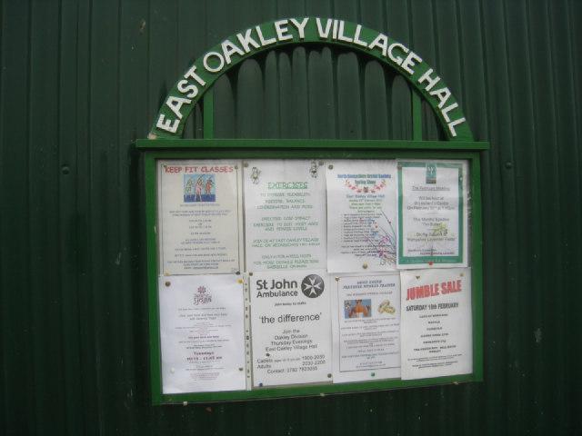 Sign board - East Oakley Village Hall