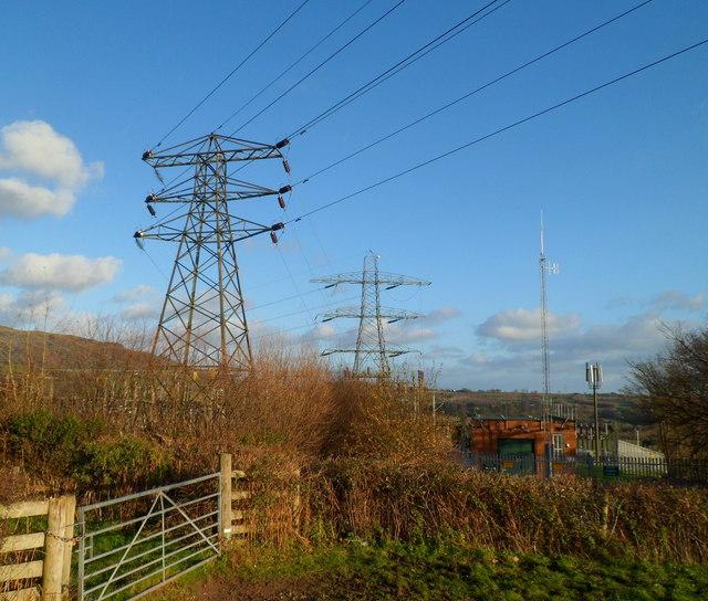 Electricity pylons alongside Old Hereford Road substation, Abergavenny