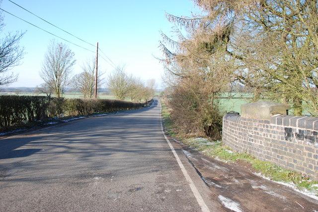 Looking along Wyrley Lane from the Wyrley Grove Bridge
