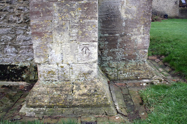 Benchmark on buttress of St Denys' Church