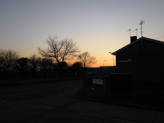 Sunset as seen from the junction of Witchampton Close and Bartons Road