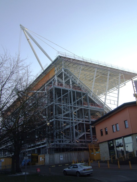 Work progresses on the new stand at the Molineux