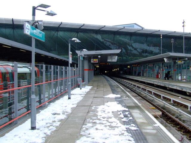 Snow at Stratford DLR station