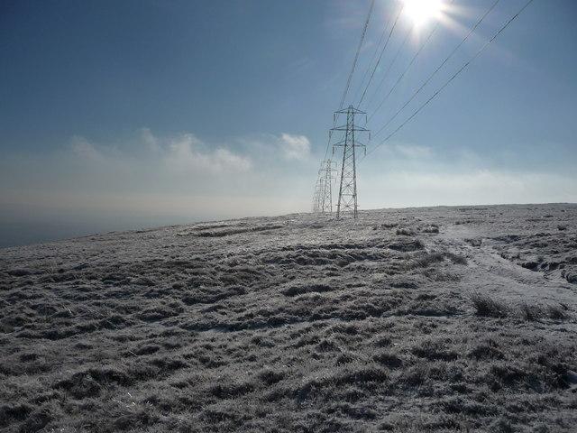 Pylon line on Mynydd Maen