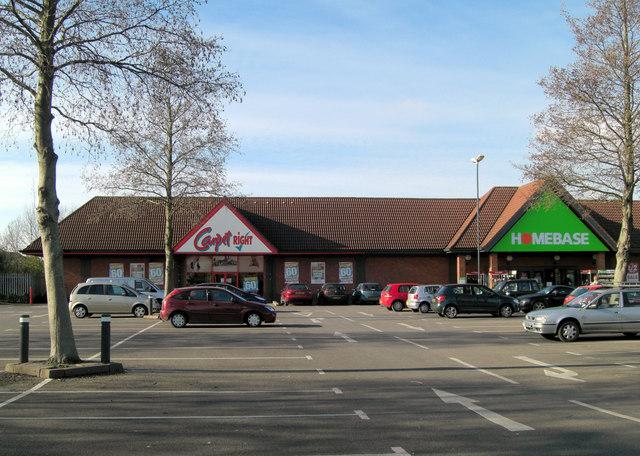 Homebase and Carpet Right car park