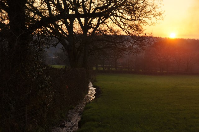 Mid Devon : Small Stream & Sunset