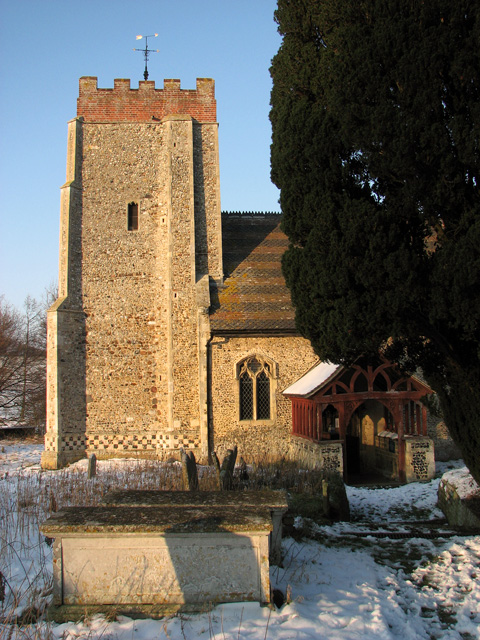 The tower of St Mary's church illuminated by winter sunshine