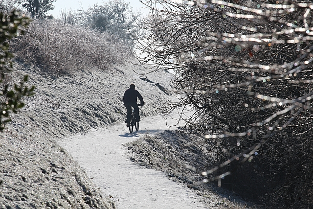Cycling on ice in the Malvern Hills
