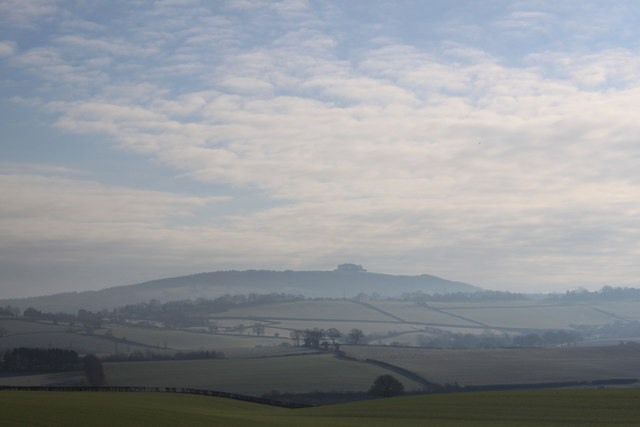 May Hill on a misty February morning from Bromsash