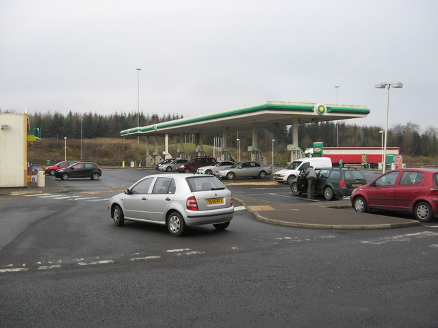 The filling station at Harthill Services