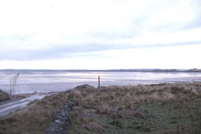 Holy Island: the start of the causeway to the mainland