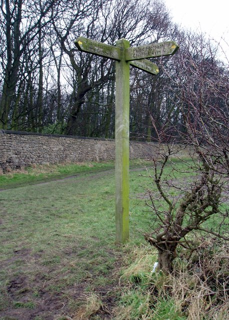 Wooden Finger Post on path around Crosby Hall Estate