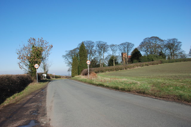 Road into Stonnall with St. Peter's Church