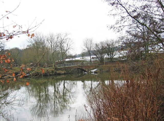 Footbridge over the Gladder Brook at its confluence with the River Severn, near Stourport-on-Severn
