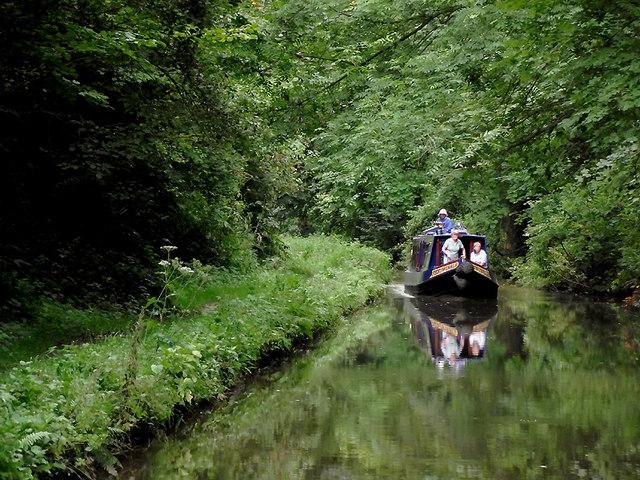 Narrowboat in Woodseaves Cutting near Market Drayton, Shropshire