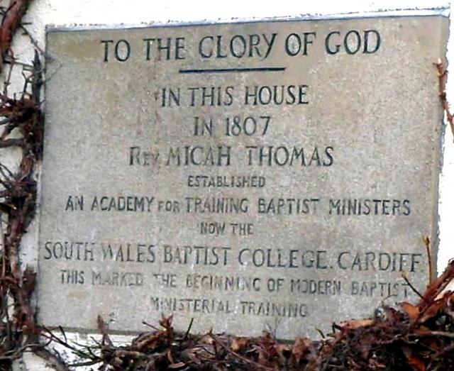 Baptist Academy 1807 plaque, Abergavenny