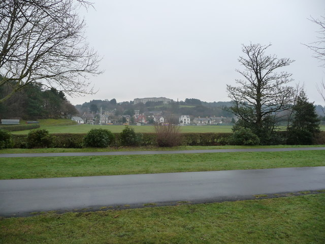 View across playing fields towards the National Library of Wales