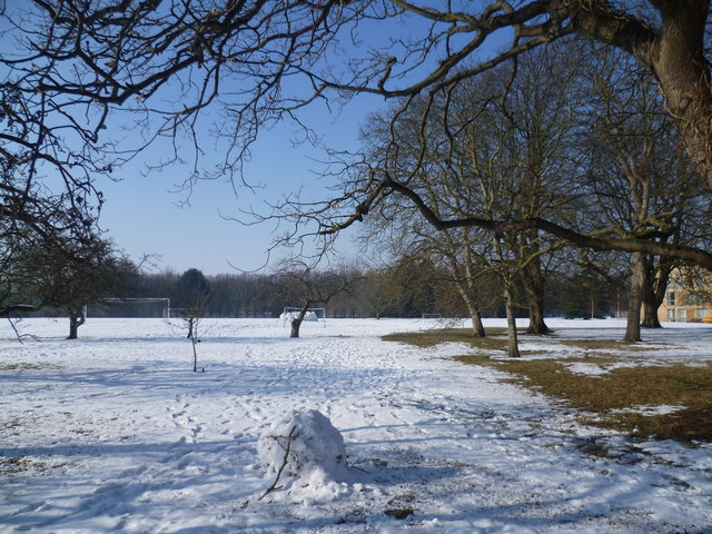 Homerton College playing fields in snow