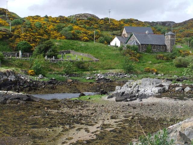 Lochinver Free Church and graveyard