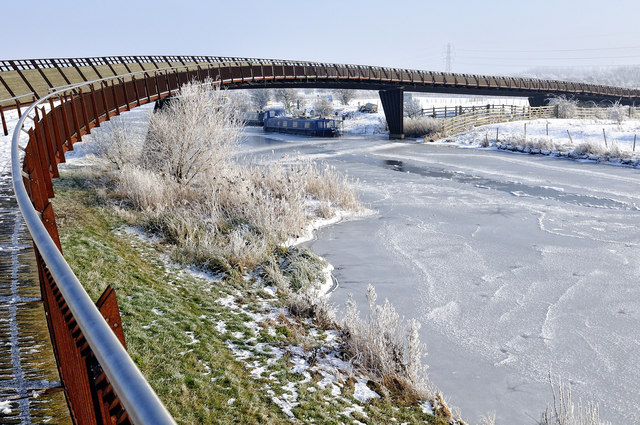 Shanks Millennium Bridge over frozen Nene