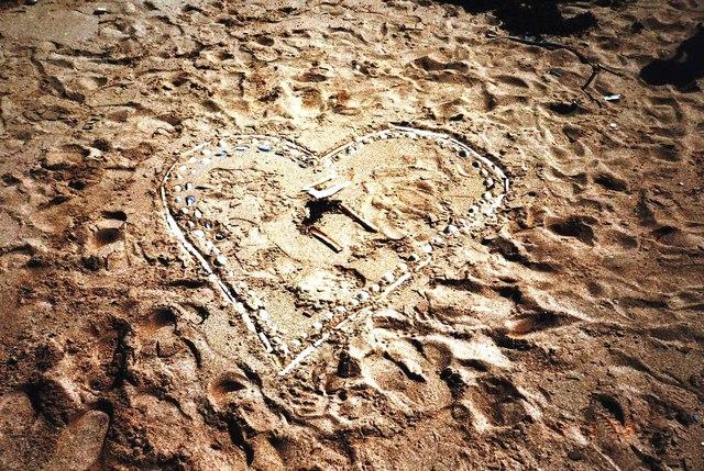 Romantic gesture left in sand at Gairloch
