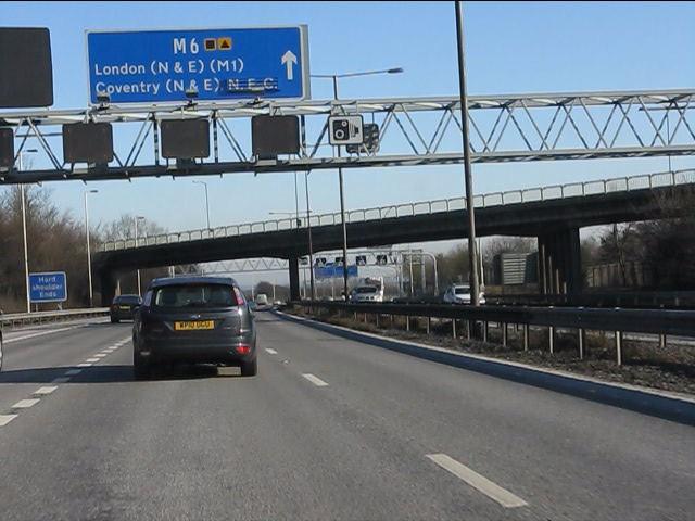 M6 motorway approaching the B4118 overbridge