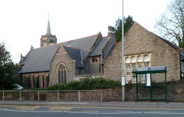 South side of Grade II listed Whitefield Presbyterian Church, Abergavenny
