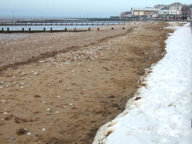 Snow on the beach at Hunstanton