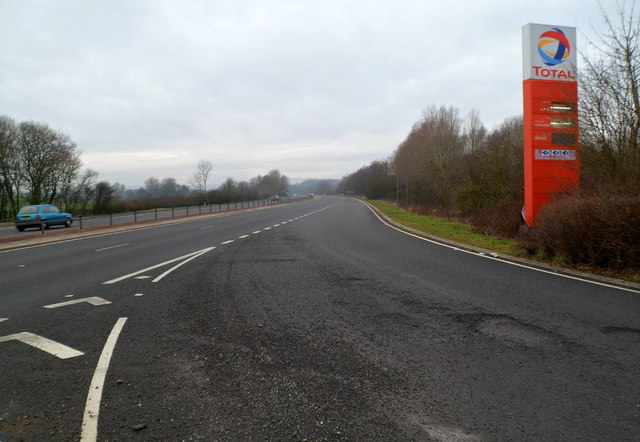 A40 viewed from Raglan Service Station