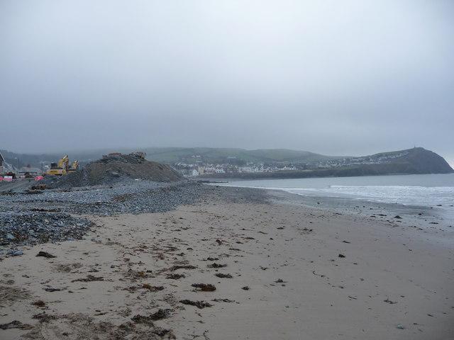 Sea defences under construction on Borth beach