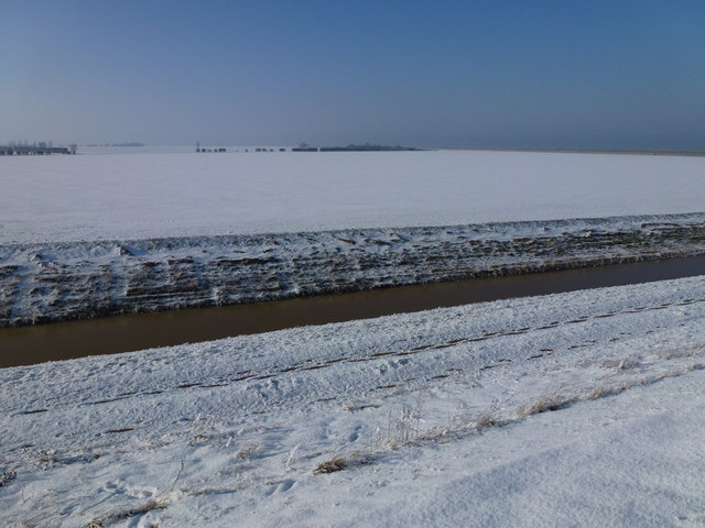 The Wash coast in winter - Snow covered farmland