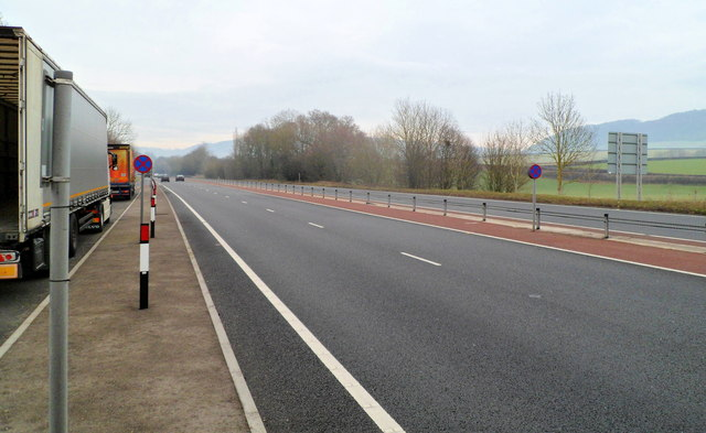A40 passes a parking area SW of Monmouth