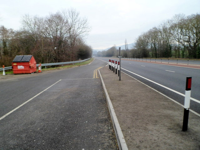 NE edge of a parking area on the A40 SW of Monmouth