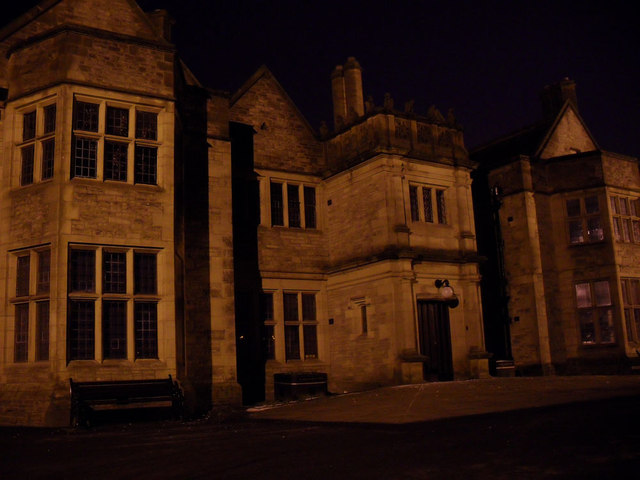 Haworth Art Gallery at night