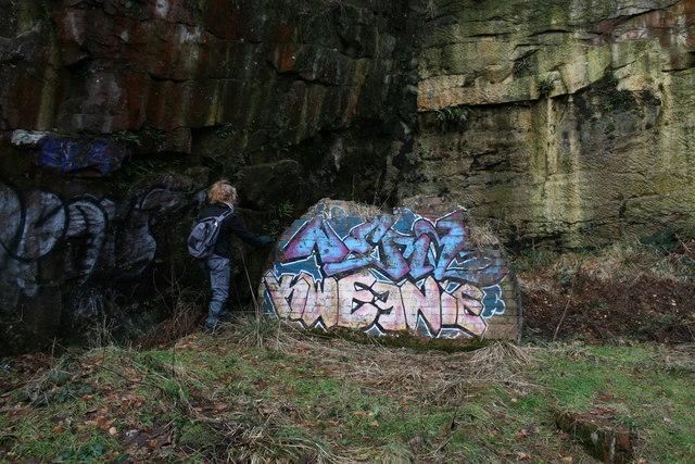 Art ? disused quarry wall, Longridge Fell