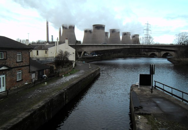 Power Station,Canal and River at Ferrybridge